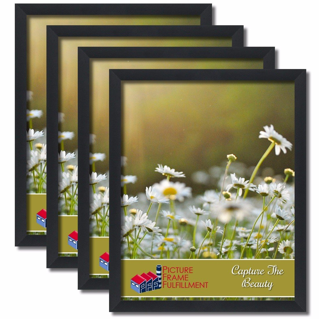 24 By 36-inch Picture Frame 4-piece Set, Smooth Finish, 1.25 Inch Wide, Black Pictureframefactoryoutlet