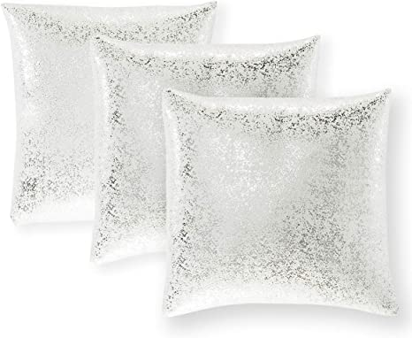 Xinrjojo Pack Of 3 Sparkling Decorative Suede Pillow Covers Soft Square Throw Pillow Covers Solid Color Cushion Covers Pillow Cases For Sofa Bedroom Car 18 X 18 Inch 45 X 45 Cm Silver