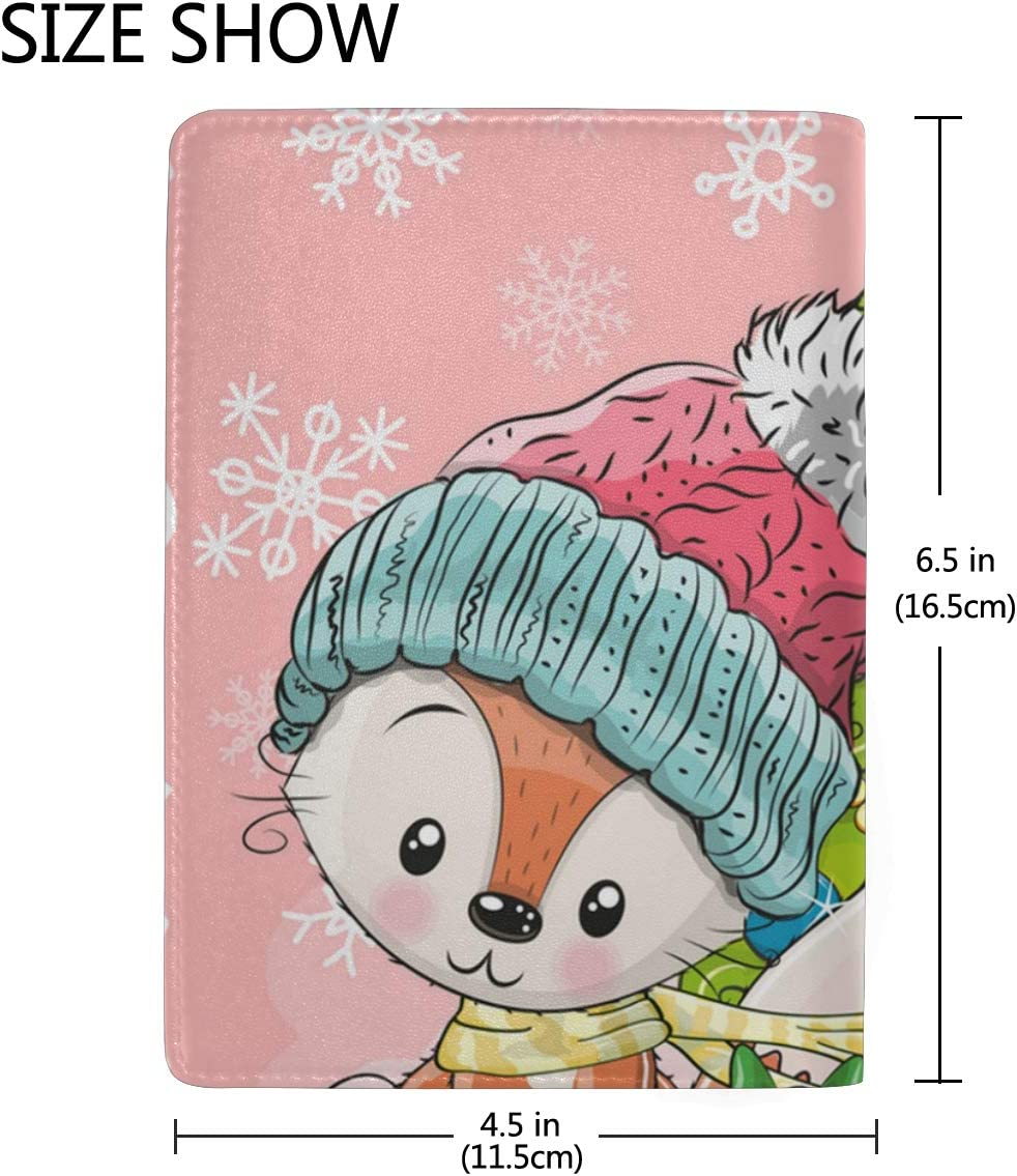 Christmas Red Fox Wearing Hat Leather Passport Holder Cover Case Blocking Travel Wallet