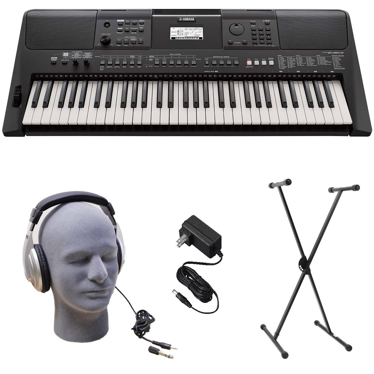 Yamaha PSR-E463 PKS Premium Keyboard Pack with Power Supply, X-Style Stand, and Headphones by YAMAHA