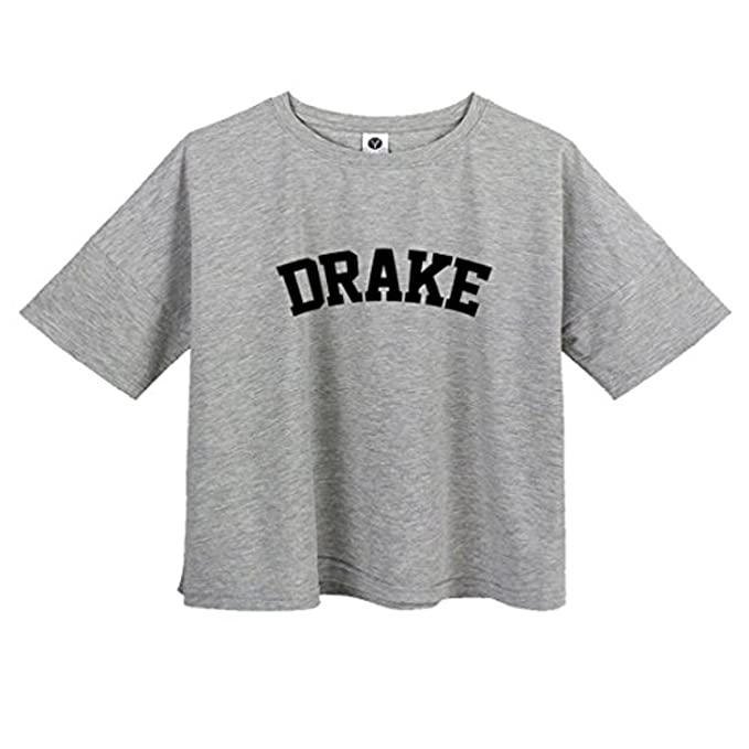 b2886fc501c VIKINGBRANDS Cute Harajuku Shirts Drake Letter Print Cute Summer T Shirts  For Teen Girls at Amazon Women's Clothing store: