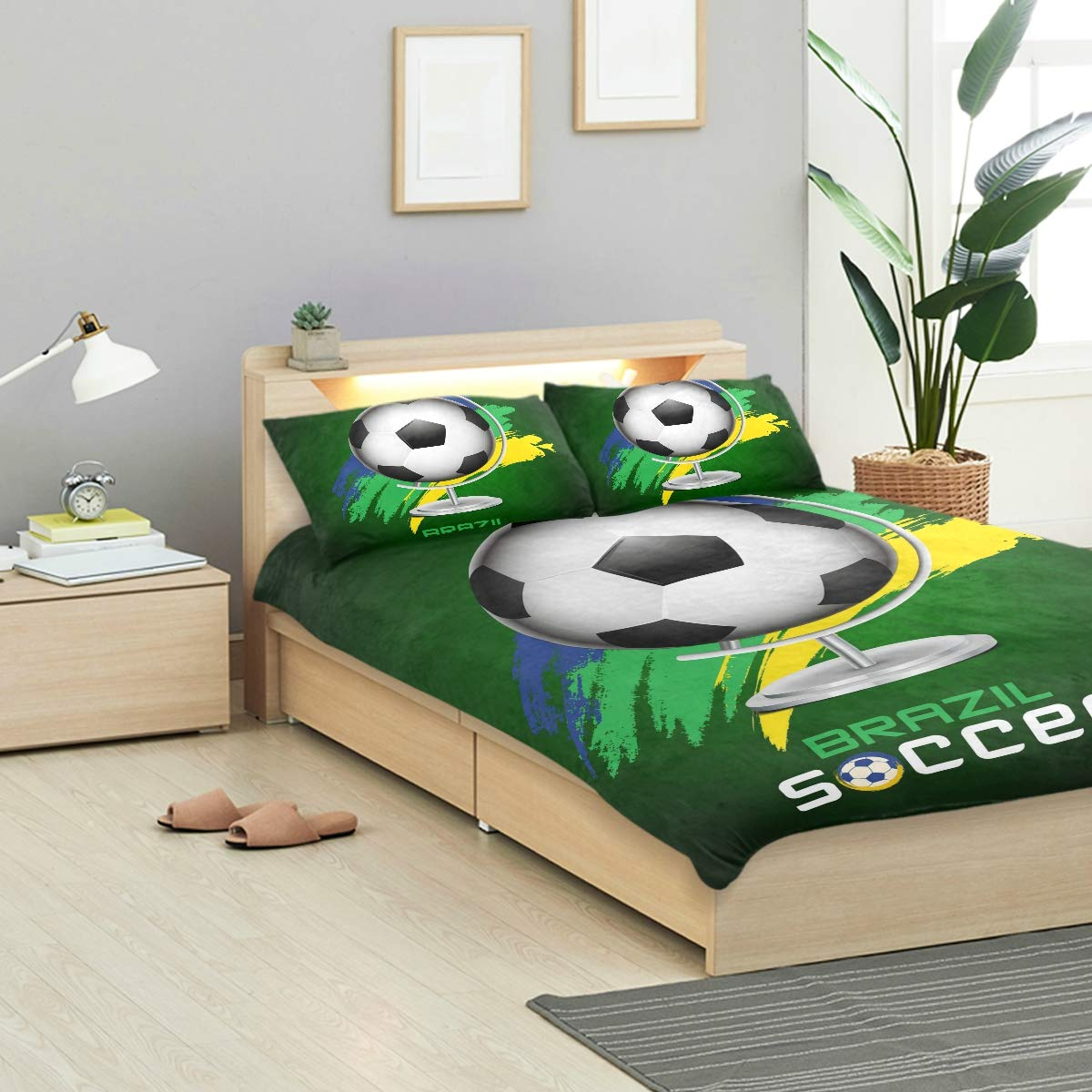 FOLPPLY Brazil Soccer 3 Piece Bedding Set Twin Size 66x90in, Decorative Duvet Cover with 2 Pillow Shams for Boys Girls Teens Adults