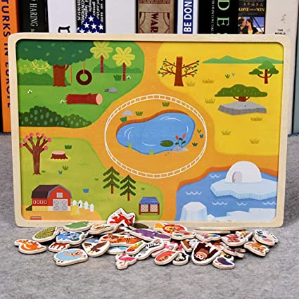 Leoie Wooden Magnetic Puzzles Toy Transport Animal Puzzle Early Learning Cognition Toy Gifts for Children Magnetic Animal