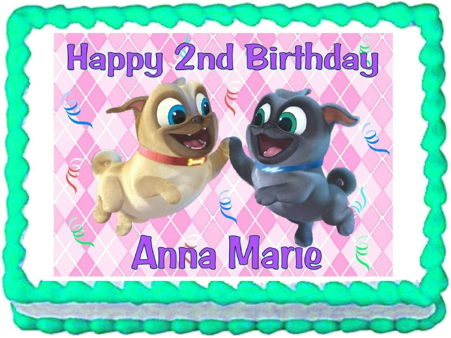 Super Amazon Com Puppy Dog Pals Pink Edible Cake Image Cake Topper Funny Birthday Cards Online Drosicarndamsfinfo