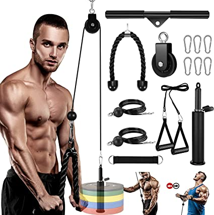 DIY Fitness Pulley Cable Machine Fittings Gym Home Triceps Biceps Training Equip