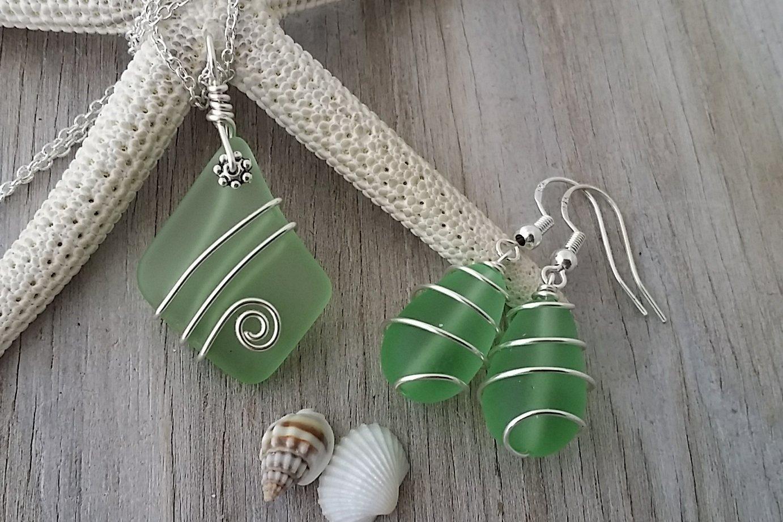 Handmade in Hawaii, wire wrapped peridot green sea glass necklace + earrings jewelry set,August birthstone, sea glass earrings, Hawaiian jewelry Hawaiian Gift, FREE gift wrap, FREE gift message August birthstone