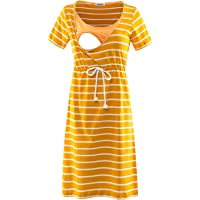 GINKANA Women's Short Sleeves Stripe Maternity Dress Nursing Breastfeeding Dresses with Pockets