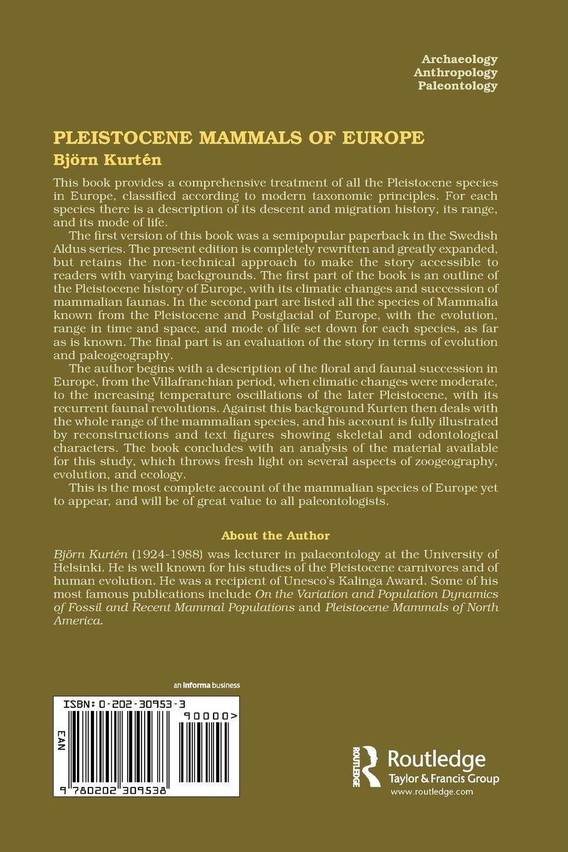Pleistocene mammals of europe amazon co uk bjorn kurten 9780202309538 books