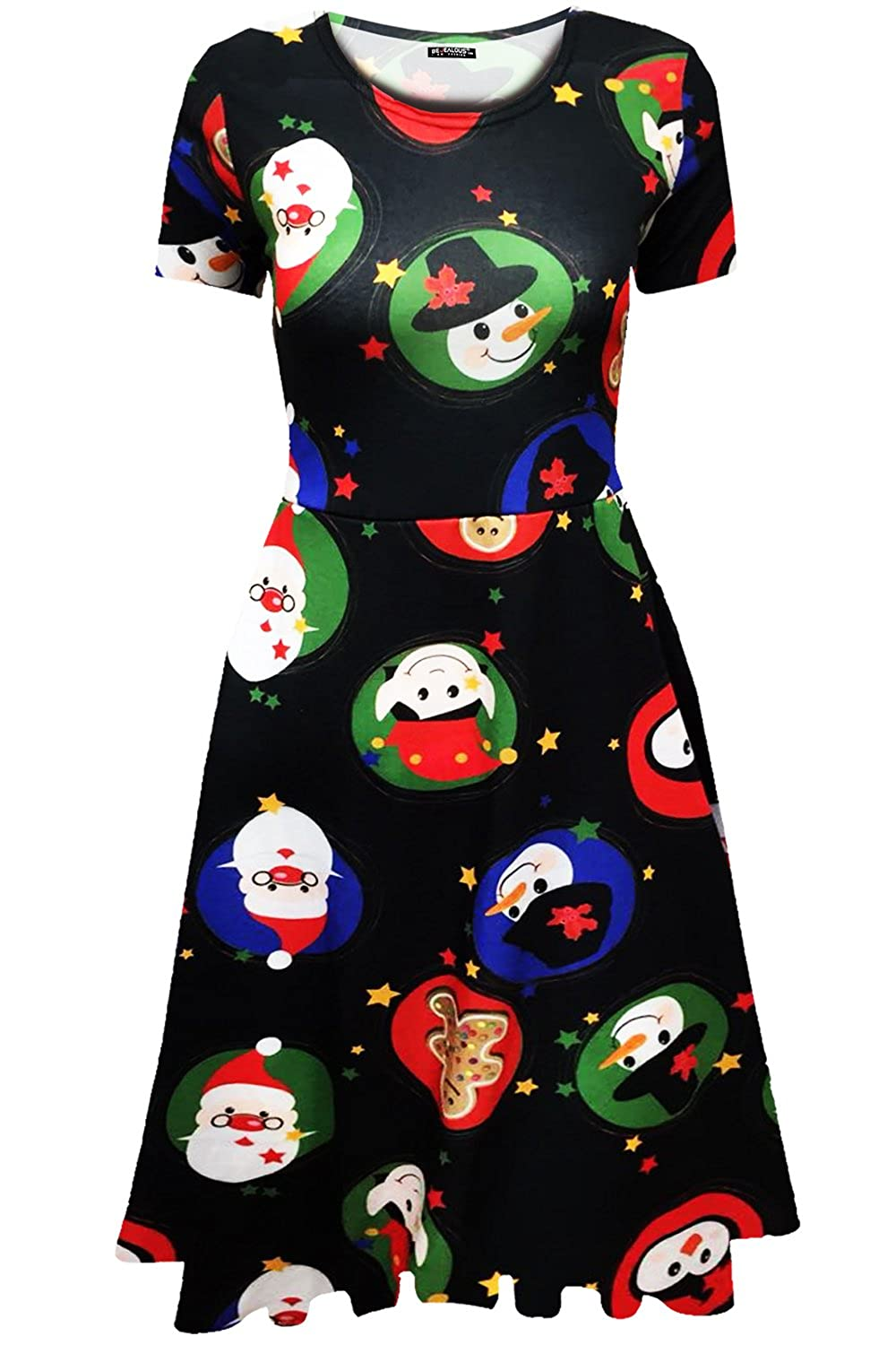 Fashion Star Womens Christmas Santa Beard Xmas Pudding Candles Candy Stick Hat Christmas Reindeer Skater Dress BE JEALOUS