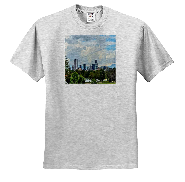 Adult T-Shirt XL Scenery ts/_314242 Denver Colorado Cityscape 3dRose Dreamscapes by Leslie
