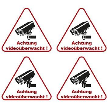4 Stuck Aufkleber Achtung Videouberwacht 100x90 Mm Selbstklebend