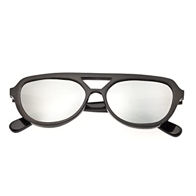 3bd59bbee1056 Amazon.com  Bertha Brittany Buffalo-Horn Sunglasses - Black Silver ...