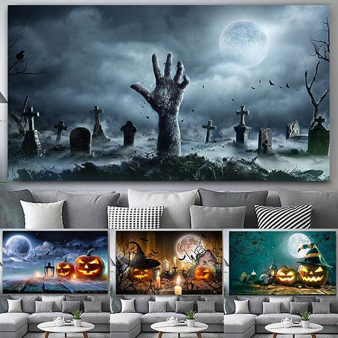 tzxdbh Impresión de Carnaval de Halloween en Lienzo Pintura Fantasma de Calabaza Lienzo póster imágenes de Arte de Pared para Sala de Estar decoración del hogar sin Marco: Amazon.es: Hogar