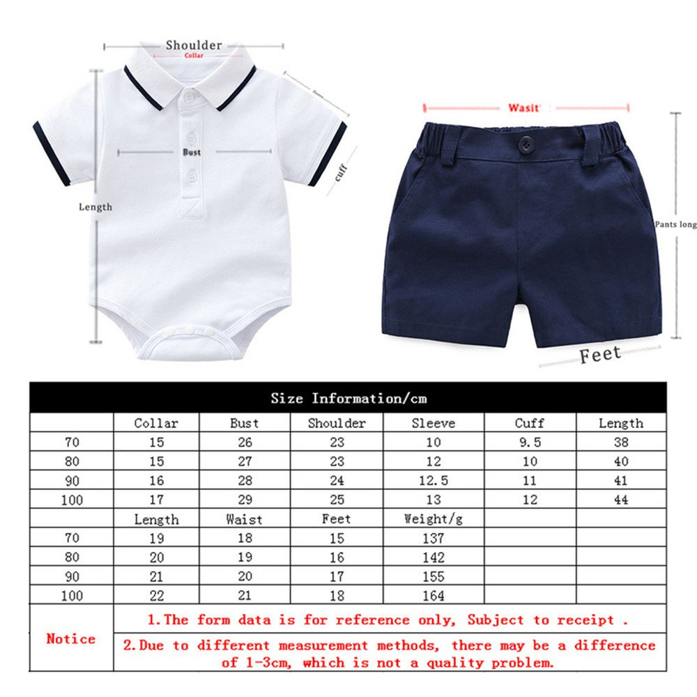 HighDream Baby Boy Casual Suit 2PCS Cotton Shorts Sleeve Solid Onesie T-Shirt and Shorts Sports Outfits Clothes Set