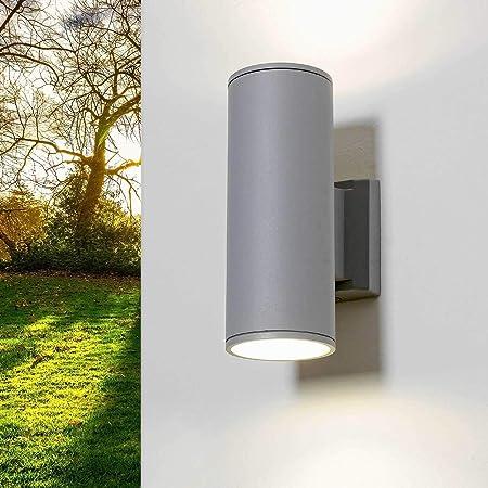 Aplique exterior gris H:24cm 2xE27 Ø9cm Arriba Proyector abajo Iluminación de jardín Aplique de pared Balcón de la casa: Amazon.es: Iluminación