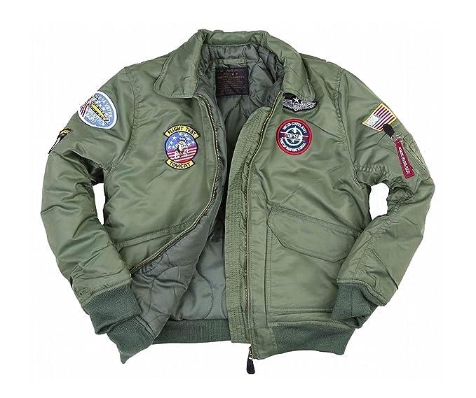 plutôt sympa 8b7af e6f9a Fostex garments Blouson Aviateur Bombers B-52 Top Gun Kaki Enfant avec  Porte Clé