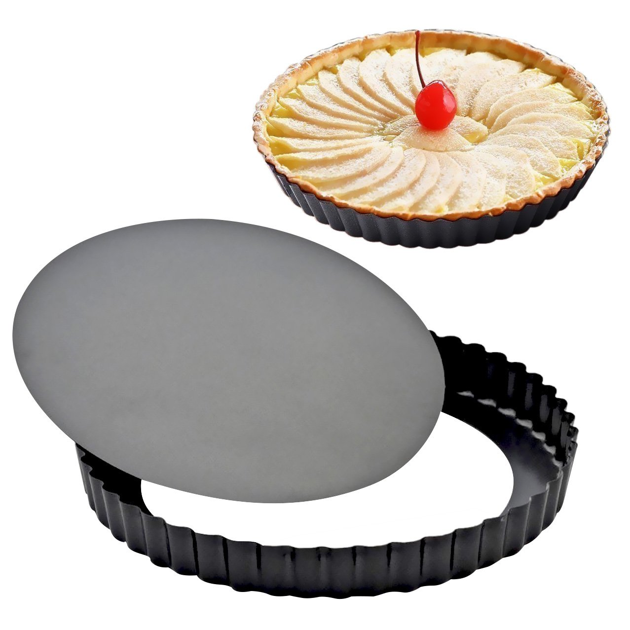 Attmu 8 Inches Non-Stick Removable Loose Bottom Quiche Tart Pan (2 Pack), Tart Pie Pan, Round Tart Quiche Pan with Removable Base BBB-042