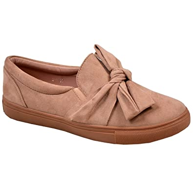 c1606fc15734b CucuFashion New Womens Ladies Bow Flat Trainers Slip On Sneakers Plimsoll  Shoes Size UK 3-