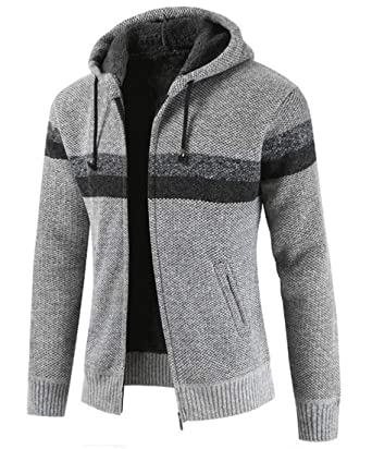 Bywx Men Knit Full Zip Hooded Thick Cardigan Contrast Fleece Long