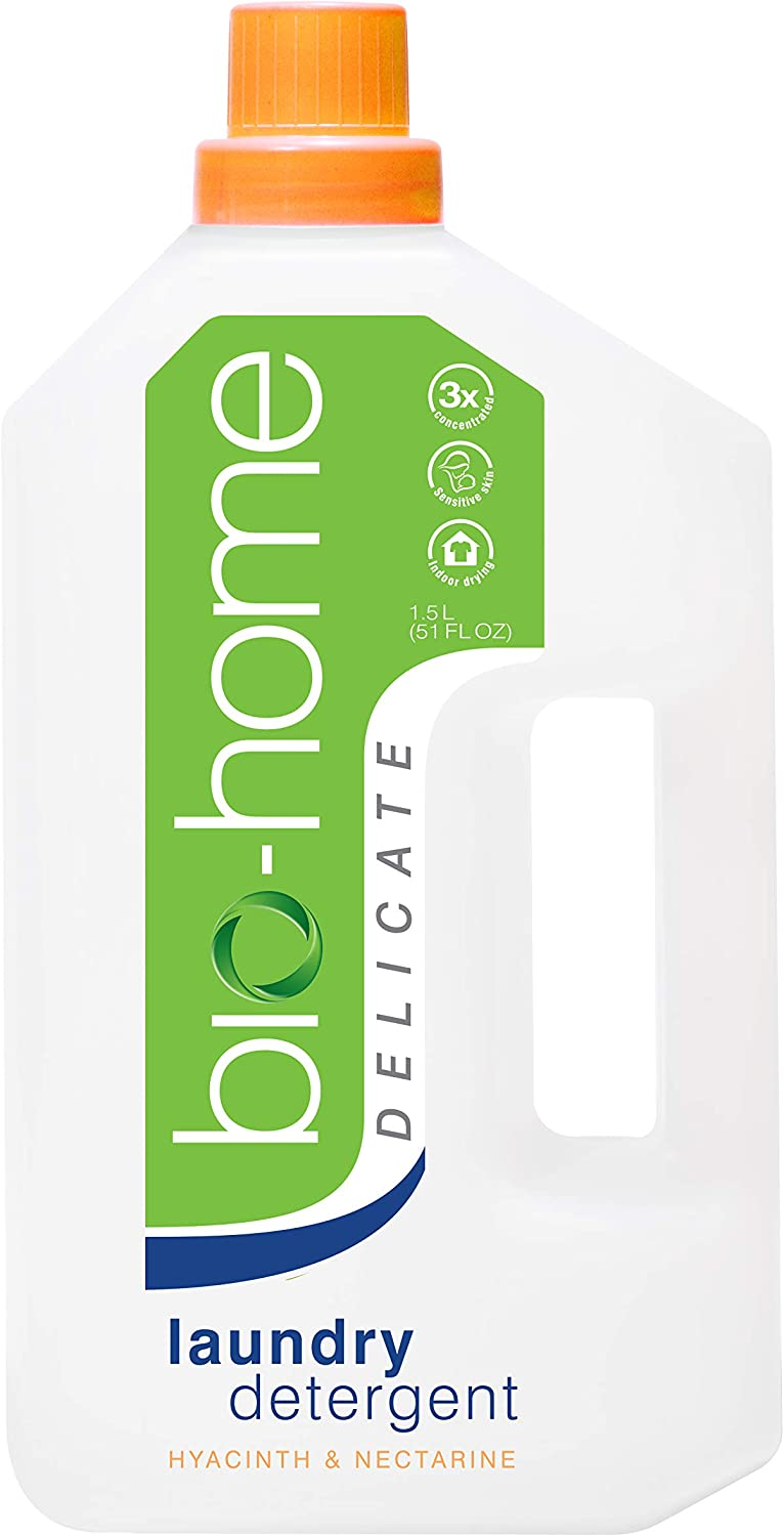 bio-home Laundry Detergent - Hyacinth & Nectarine, 3 x Concentrated, Low Suds, Suitable for Sensitive Skin, No Softener Needed, Indoor Drying-Suitable 51 FL OZ. (Delicate)