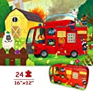 "Puzzles for Kids Ages 4-8 Year Old 24 Pieces Large Fire Truck Kids Jigsaw Puzzles, Professional Preschool Toy Puzzles for Toddlers Boys and Girls –16""x12"" with Storage Box"