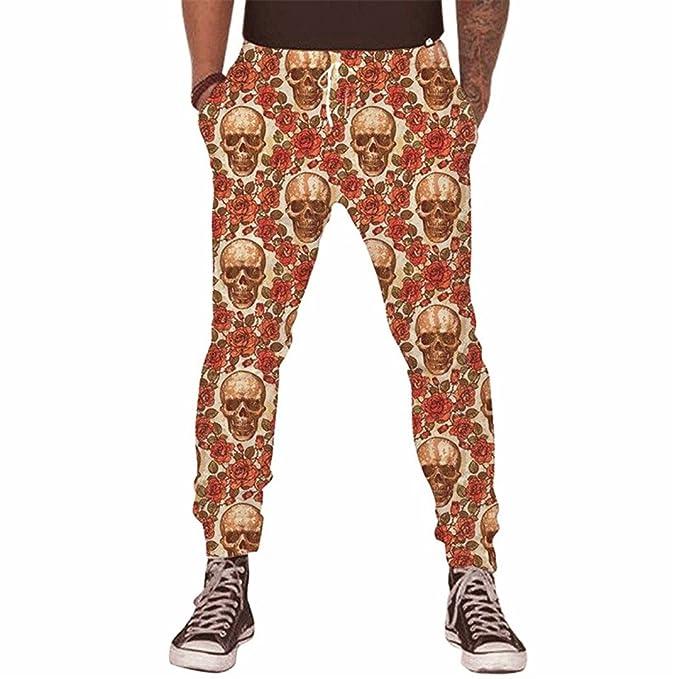 aaa0fe14b34a1 WRTCSGJPA Pantalones de Estilo Hip Hop para Hombre 3D Skull Print Pantalones  de chándal Sueltos Ocasionales Divertidos Unisex Pantalones Masculinos ...