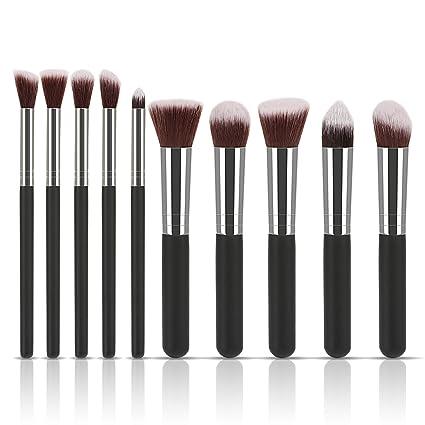 LIHAO Brochas de Maquillaje Brochas Faciales Profesional-10 piezas