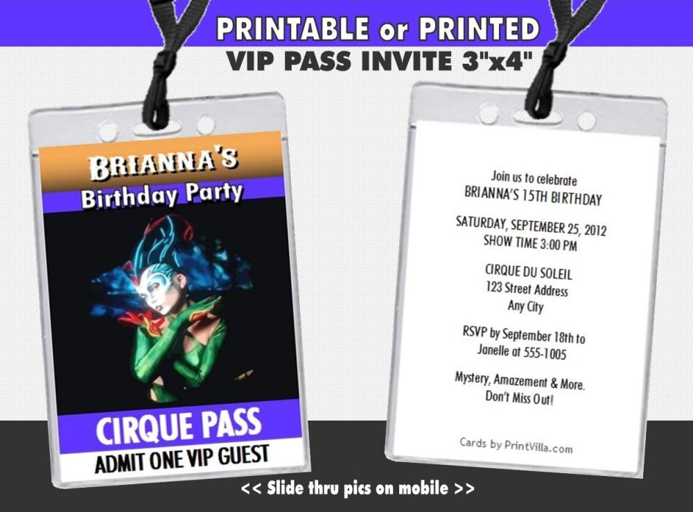 Cirque du Soleil Birthday Party VIP Pass Invitation Printable or Printed Option