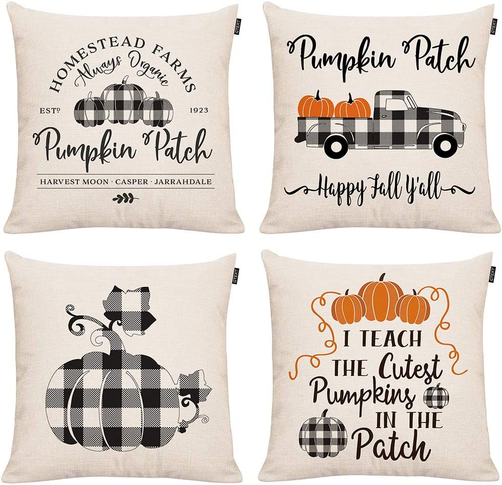 GTEXT 4 Pieces Fall Pillow Covers Buffalo Check Throw Pillow Cover Autumn Decor Plaids Cuhion Cover Case for Couch Sofa Home Decoration Fall Pillows Linen 18 X 18 Inches