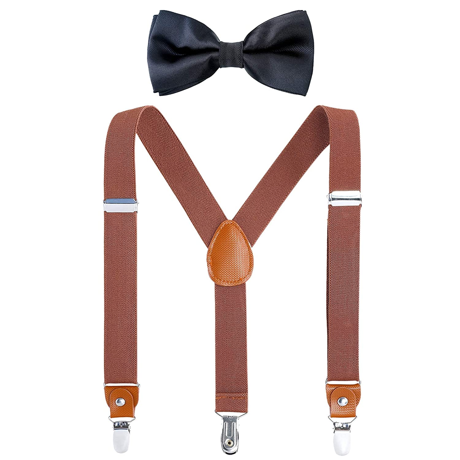 Children Boys Kids Adults Suspenders - Sturdy Metal Clips Genuine Leather Suspender (Brown, 27 inch (3 Years - 9 Years)) B06ZZMMZ015