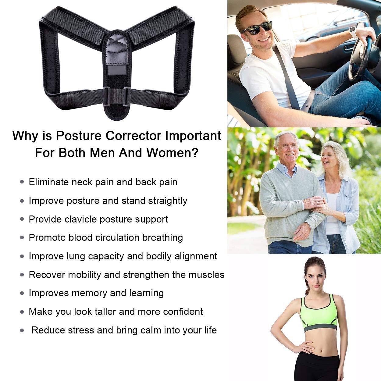 Posture Corrector for Women Men, Upper Back Brace for Clavicle Support, Adjustable Back Straightener and Providing Pain Relief from Neck, Back & Shoulder