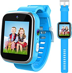 lzndeal Kids Smart Watch for Boys, Gifts for 3-10 Year Old Boys, Dual Camera Touchscreen Watch for Kids with Games & Music Player, Educational Toys Toddles Birthday for Boys Ages 6 7 8-Blue
