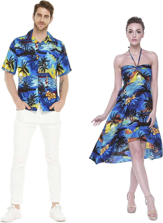 Couple Matching Hawaiian Luau Party Outfit Set Shirt Dress in Sunset Blue