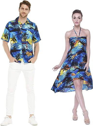 Hawaii Hangover Pareja Juego Hawaiano Luau Fiesta Traje Conjunto Camisa Vestido en Azul Puesta de Sol Hombres L Mujer S: Amazon.es: Ropa y accesorios
