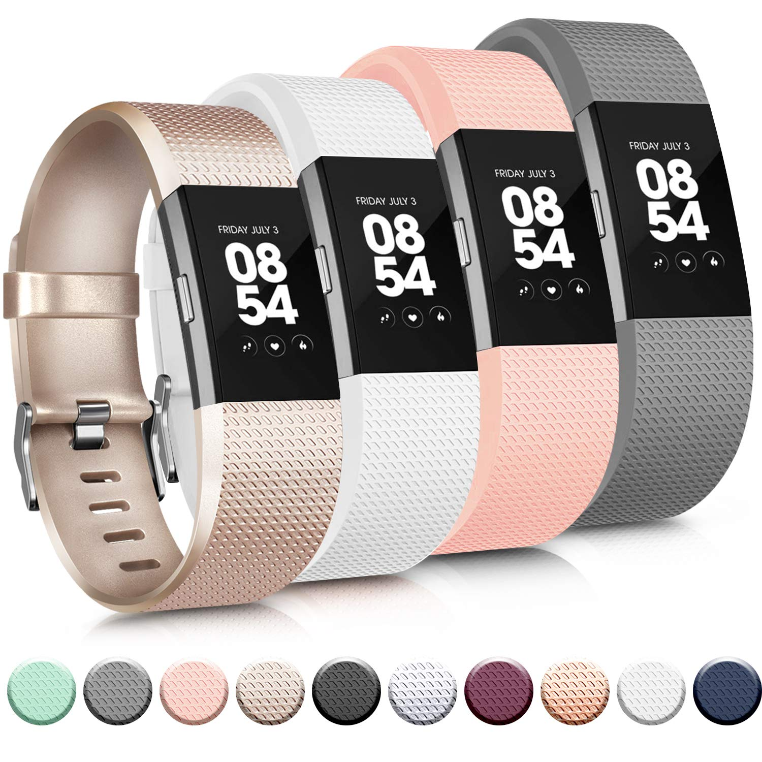 4 Mallas Small para Fitbit Charge 2 Champán / Gris / Rosa /