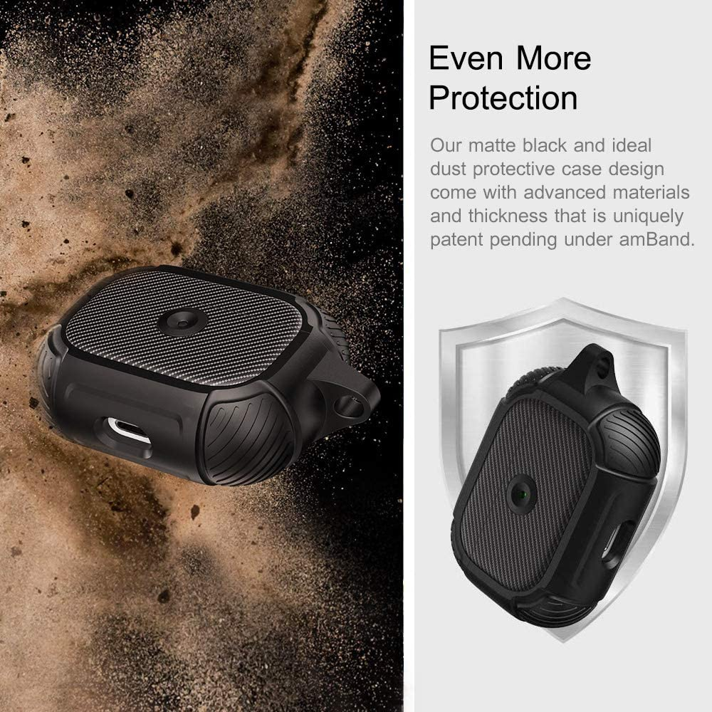Space Gray Durable Armor Case with Smooth Skin AirPods Pro Case Compatible for Apple Resilient Shock Absorption Design Full-Body Rugged Protective Cover