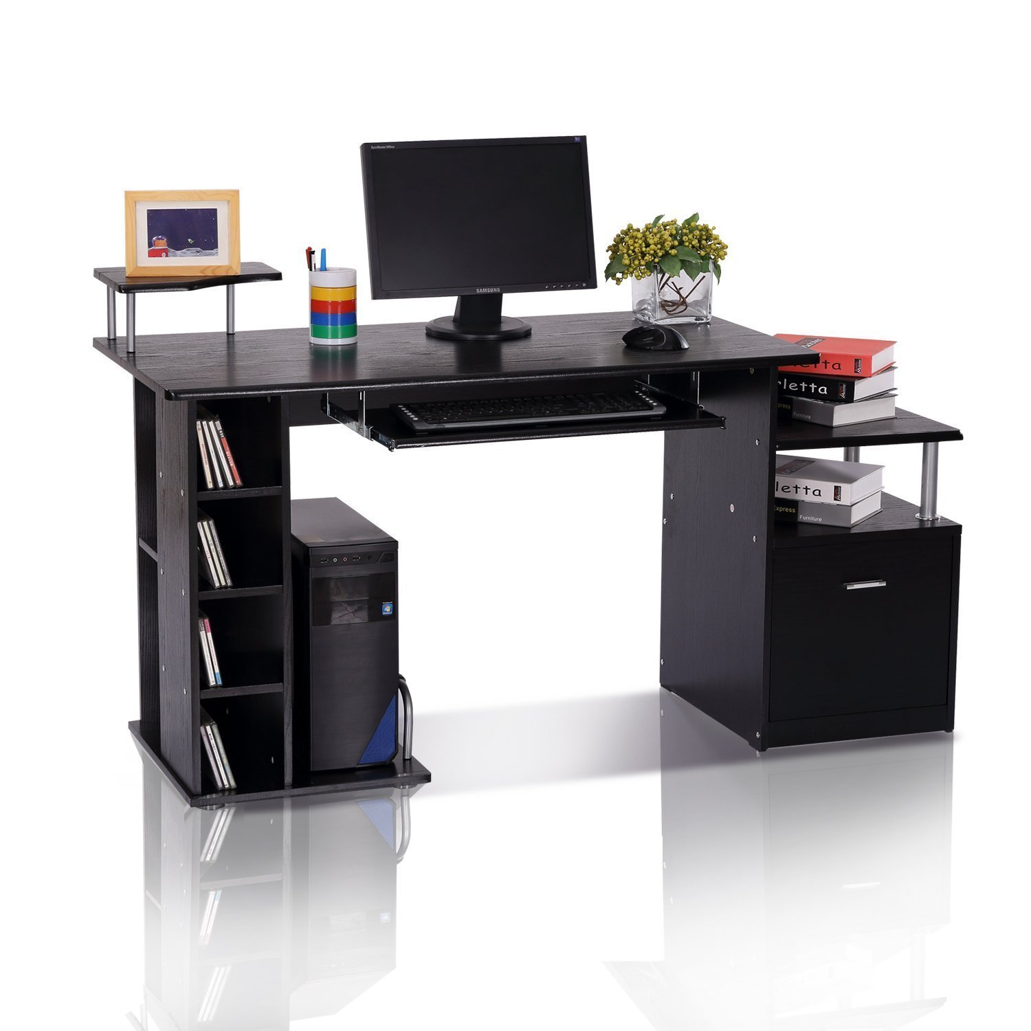 HOMCOM Wood Computer Desk Table Laptop Workstation with Storage Shelf Drawer Office Home Black MHCanada CA920-0130231