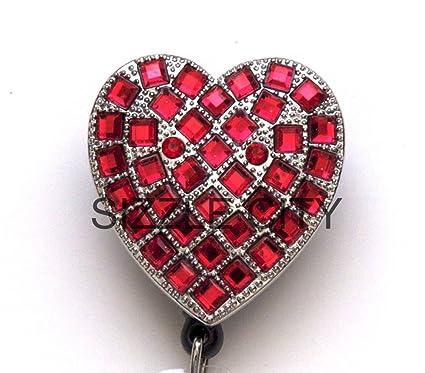 4bd672706653 Amazon.com   Red Heart Rhinestone Retractable Badge Reel   ID Badge ...