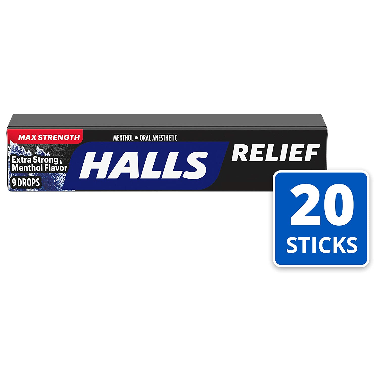 HALLS Relief Max Strength Extra Strong Menthol Throat Drops, 20 Packs of 9 Drops (180 Total Drops) : Grocery & Gourmet Food