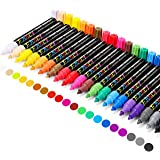Paint Pens , Emooqi 20 Pack Paint Markers Oil-Based Painting Marker Pen Set for Rocks Painting, Wood, Fabric, Plastic…