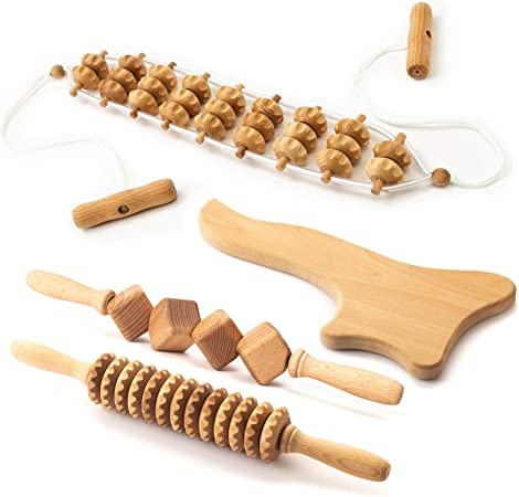 Ribnican Accessories Maderotherapy Anti Cellulite Massage Set Wooden Roller Lymphatic Drainage Tool - 4