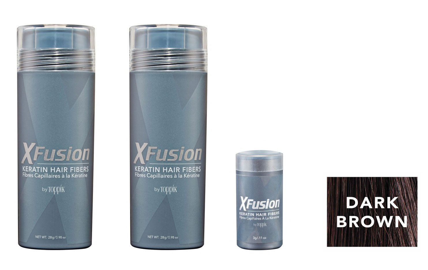 XFusion Keratin Hair Fibers,Two Pack Value 2 x 28 gr/0.98 oz DARK BROWN/FREE Refillable 3 gr Travel Size Fibers ($8.00 Value) …