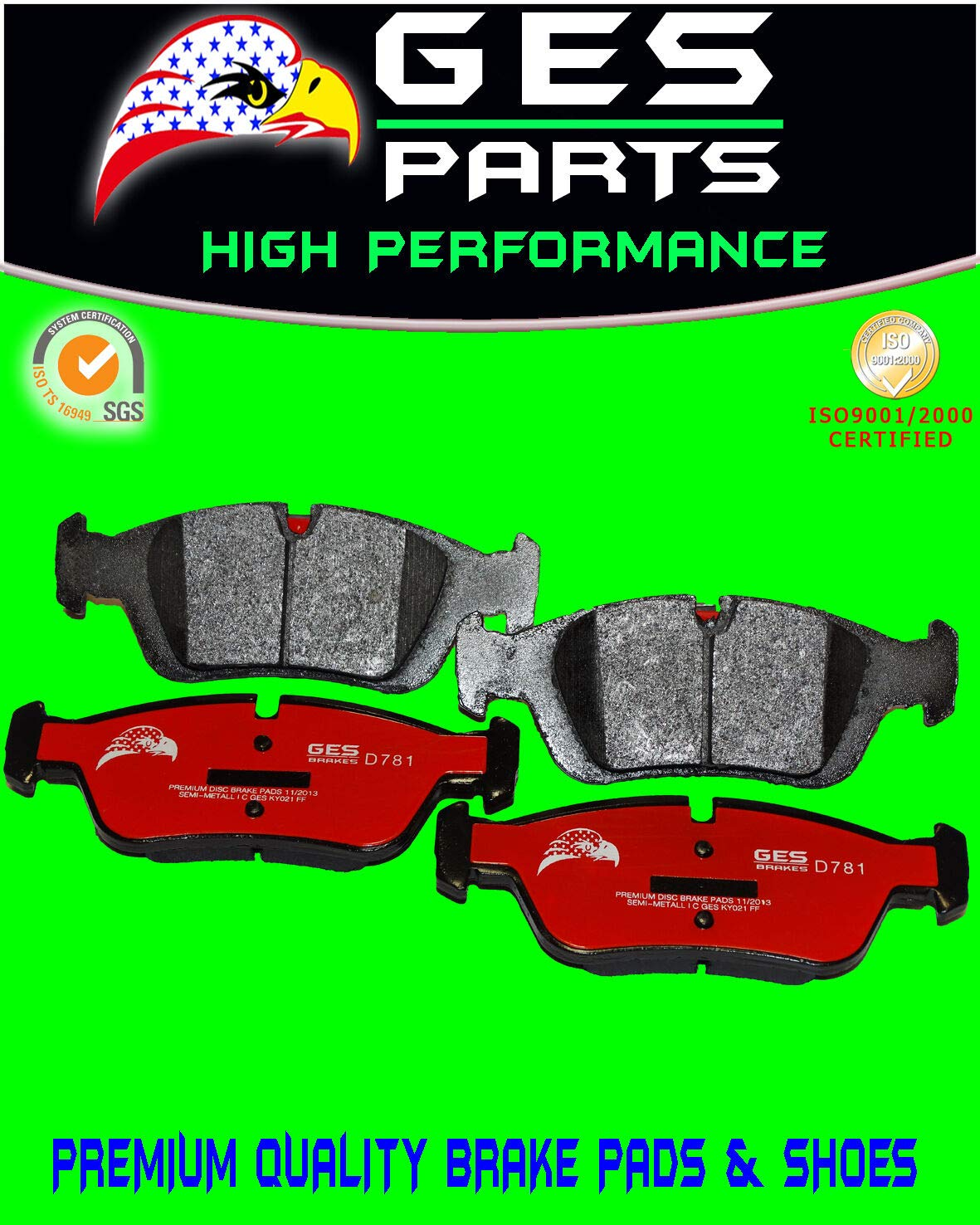 GES PARTS Front Brake Pad BMW 318i 318is 318ti 323Ci 323is 325Ci 325i 325is 325xi Z4 D781