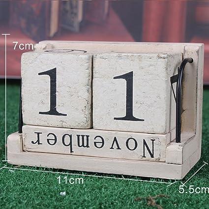 amazon com amyove calendar wooden perpetual retro rustic design