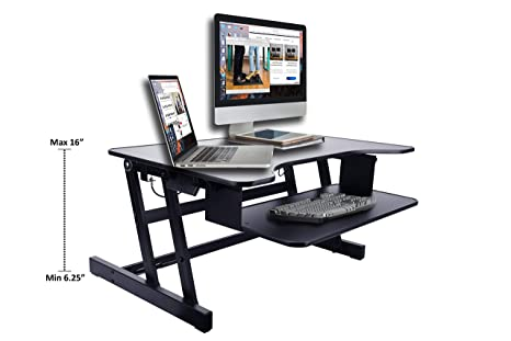 Cool Rocelco 32 Height Adjustable Standing Desk Converter Sit Stand Up Tabletop Riser Computer Workstation Dual Monitor Retractable Keyboard Tray Gas Download Free Architecture Designs Crovemadebymaigaardcom