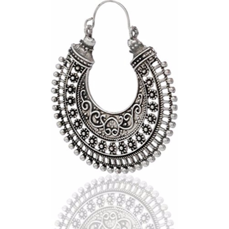 Efulgenz Boho Jewelry Indian Vintage Ethnic Dangle Tribal Gypsy Oxidized Golden Silver Hoops Dangle Drop Earrings