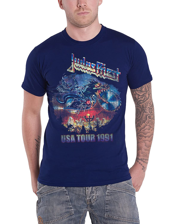 Judas Priest T Shirt Painkiller US Tour 1991 Distressed Logo Official Mens Navy