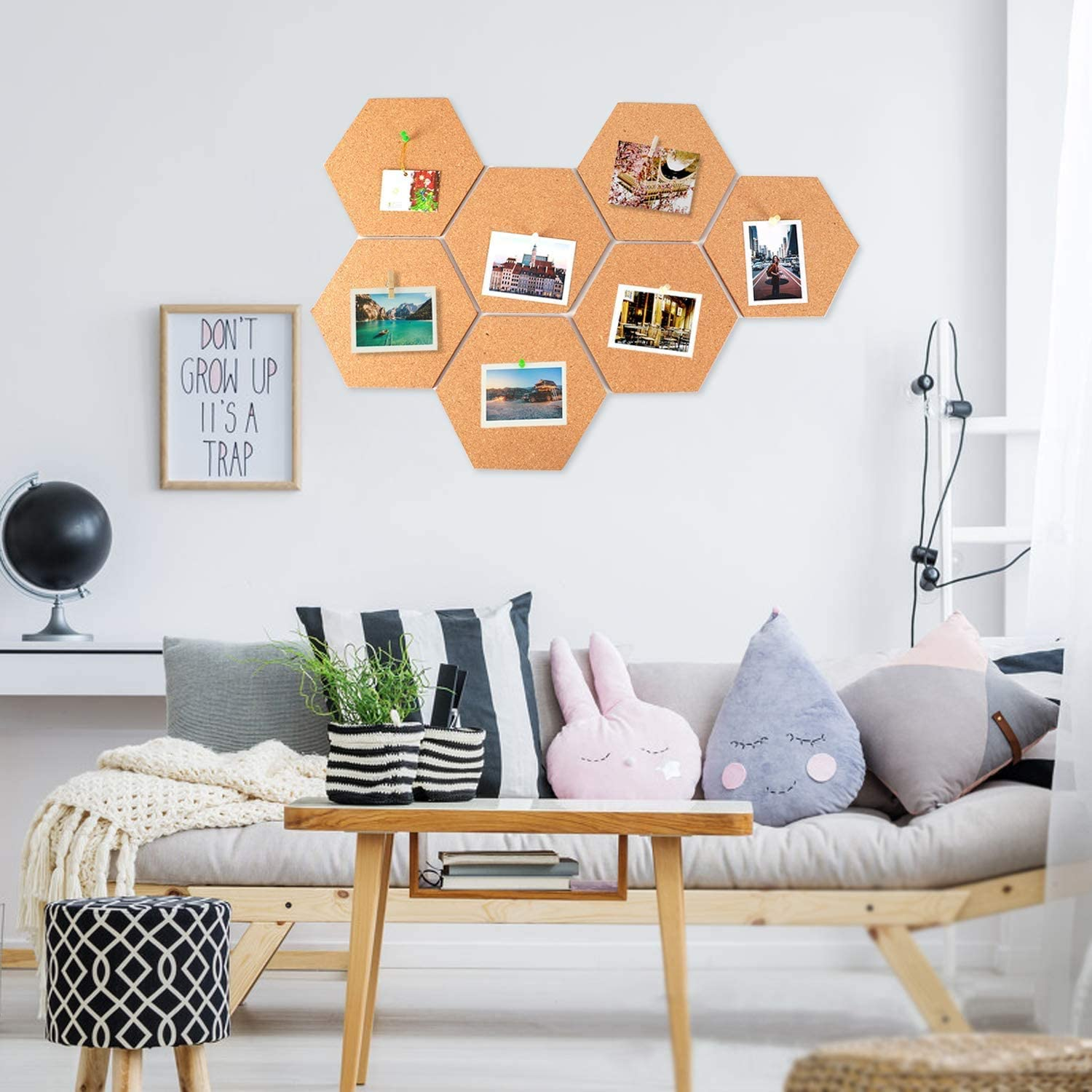 Set of 10 Hexagon Cork Notice Board Self-Adhesive Wall Pin Board with 20 Push Pins for Office Home Kitchen Kids Bedroom Walls Decor Cork Board DIY Pin Boards 8 x 7 inches