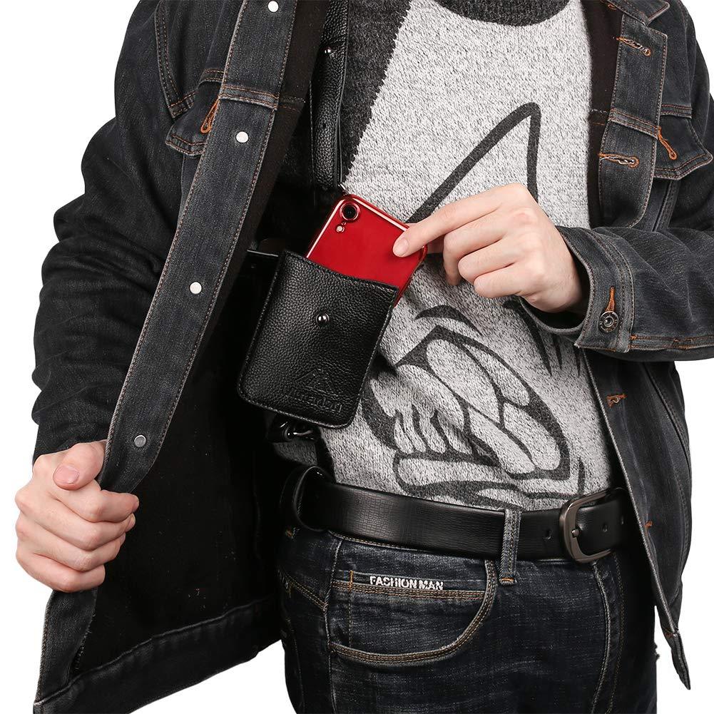 Id/éale pour Passeport Anti-vol cach/é sous-Bras Sangle Portefeuille Poche /étui t/él/éphone /étui /épaule /étui Loisirs Double Poche Argent. Smartphone