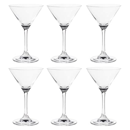 Martini Glasses 6 Set Clear Classic 6 Ounce Cocktail Glasses Inverted Cone